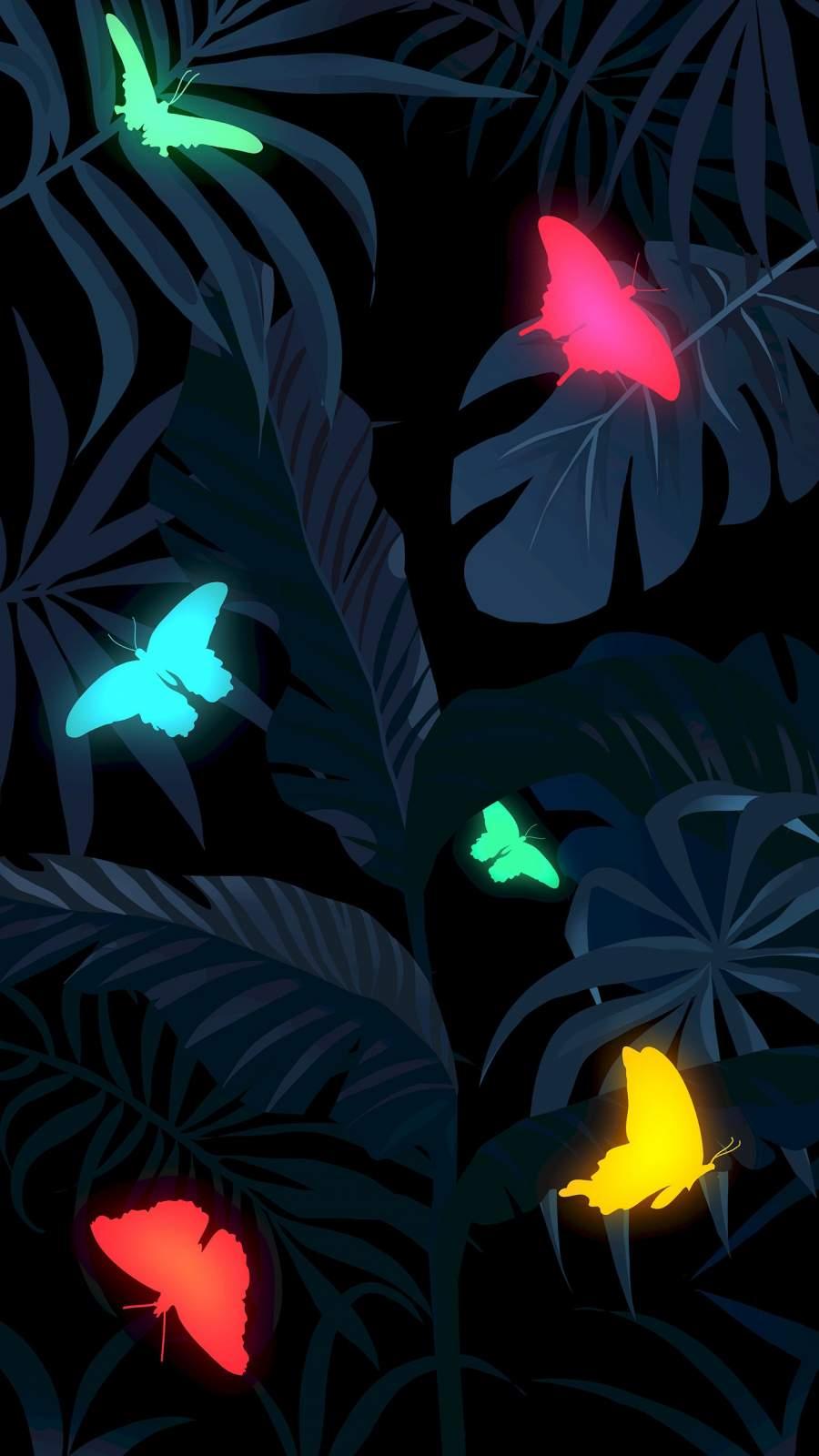 Foliage Butterflies iPhone Wallpaper