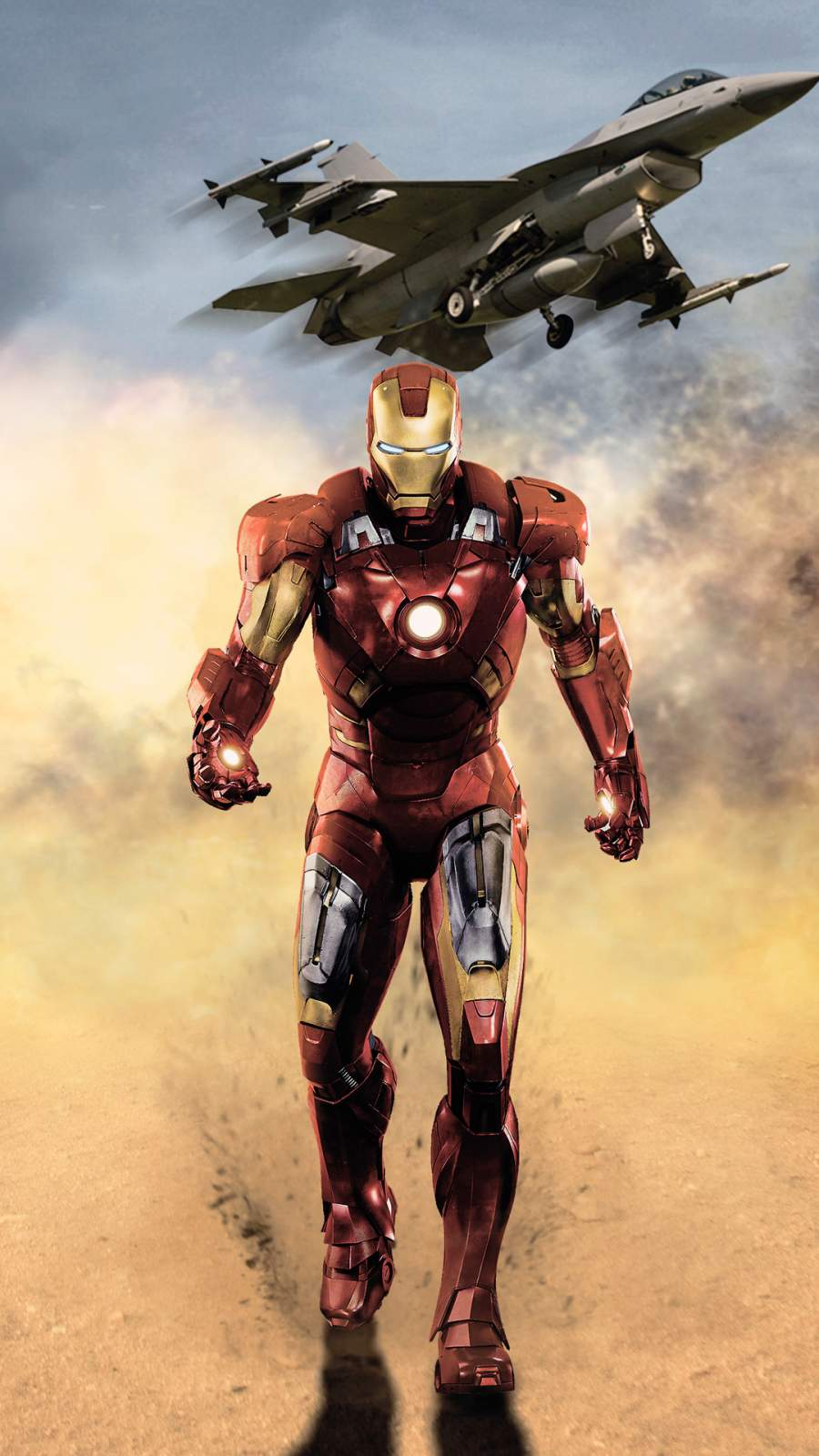 Iron Man vs Fighter Jet iPhone Wallpaper