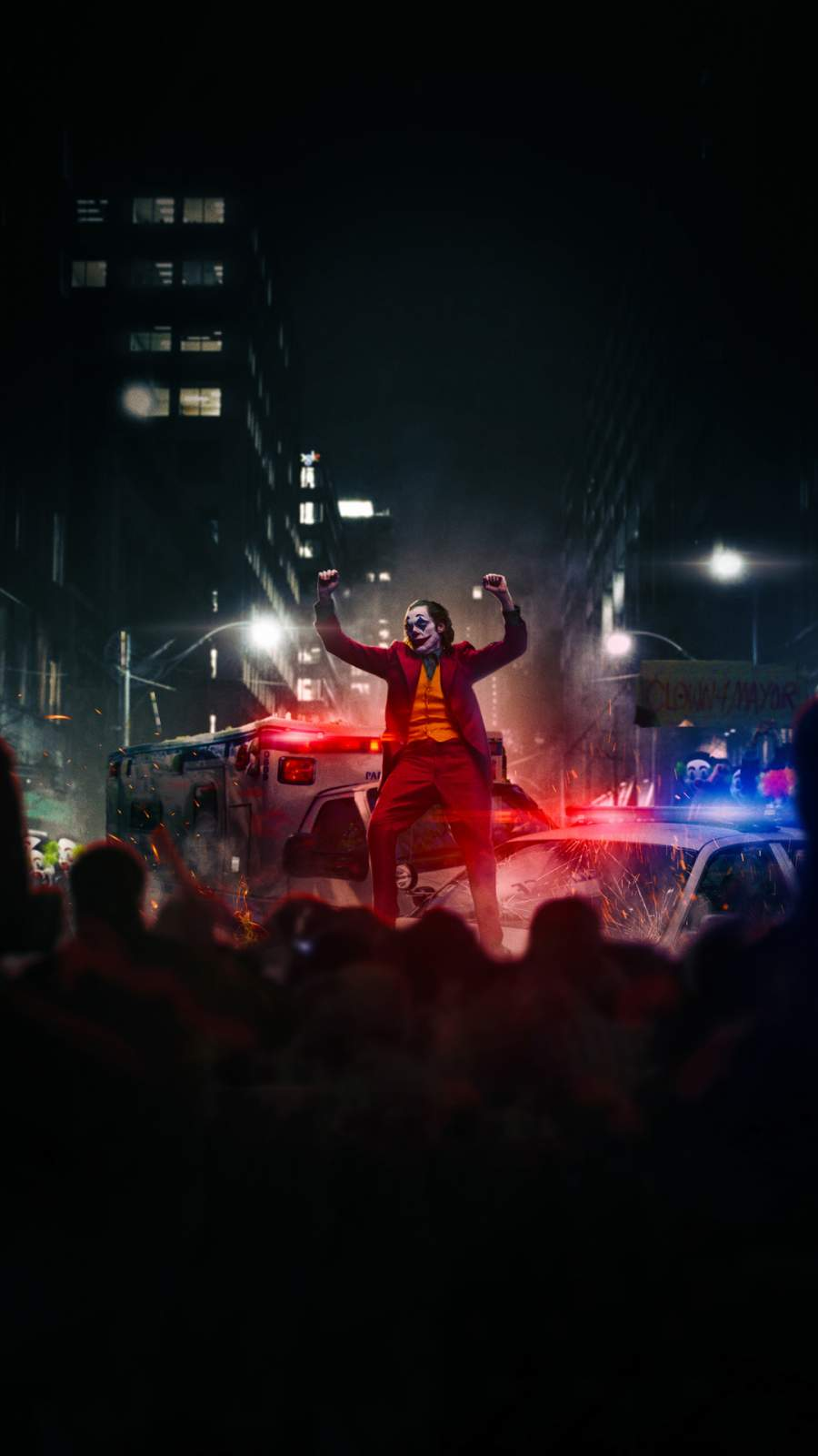 Joker Dancing on Police Car iPhone Wallpaper