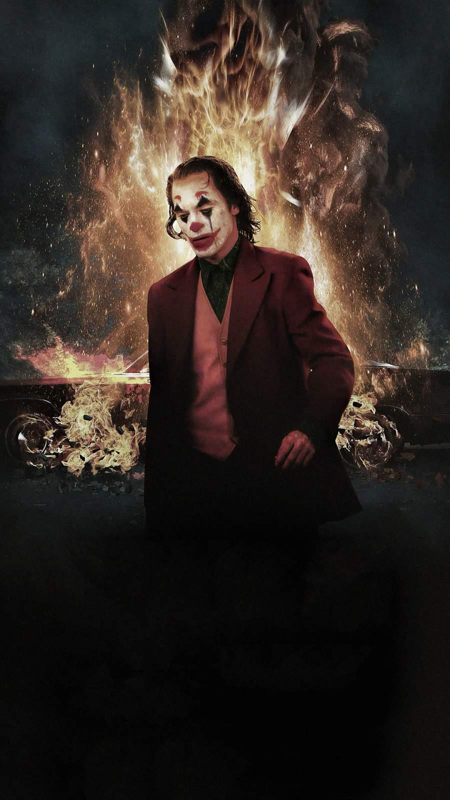Joker Fire iPhone Wallpaper