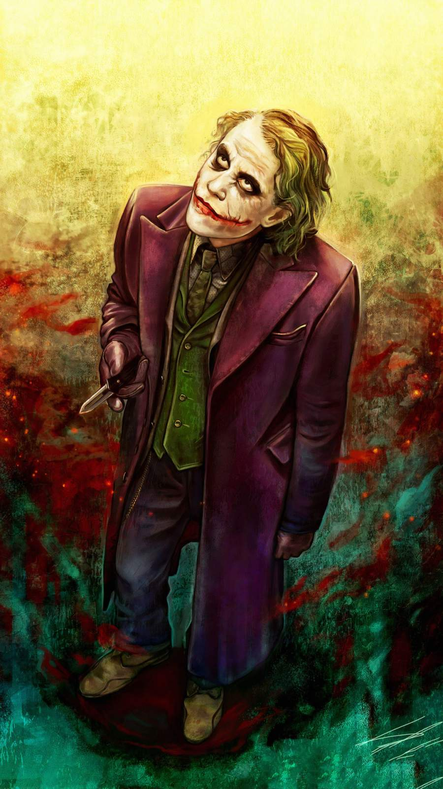 Joker Heath Ledger Art iPhone Wallpaper