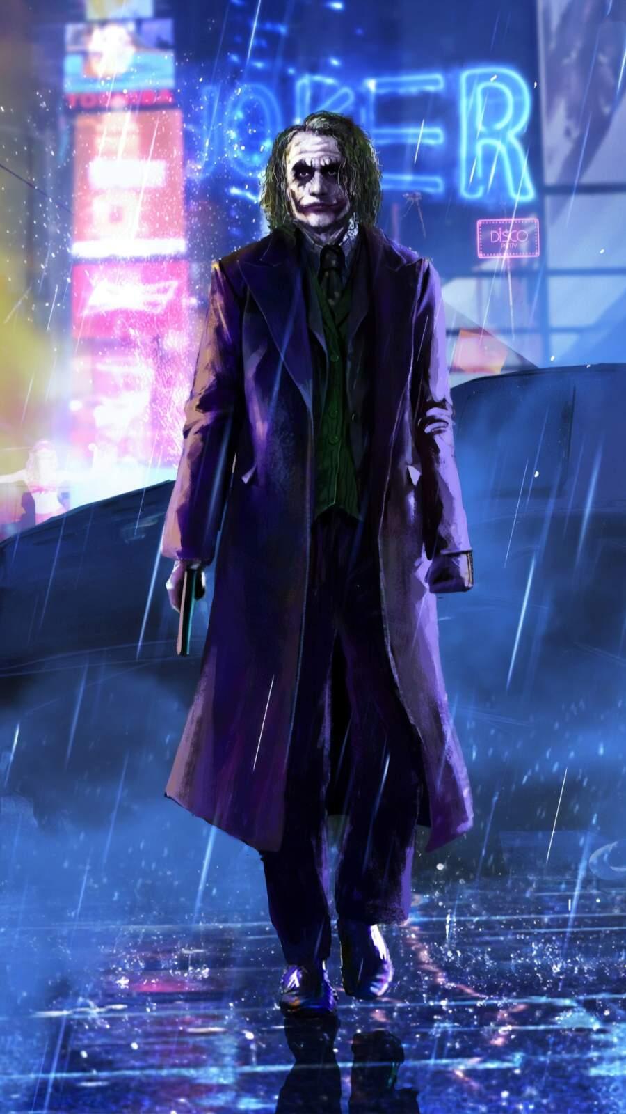 Joker in the Rain iPhone Wallpaper