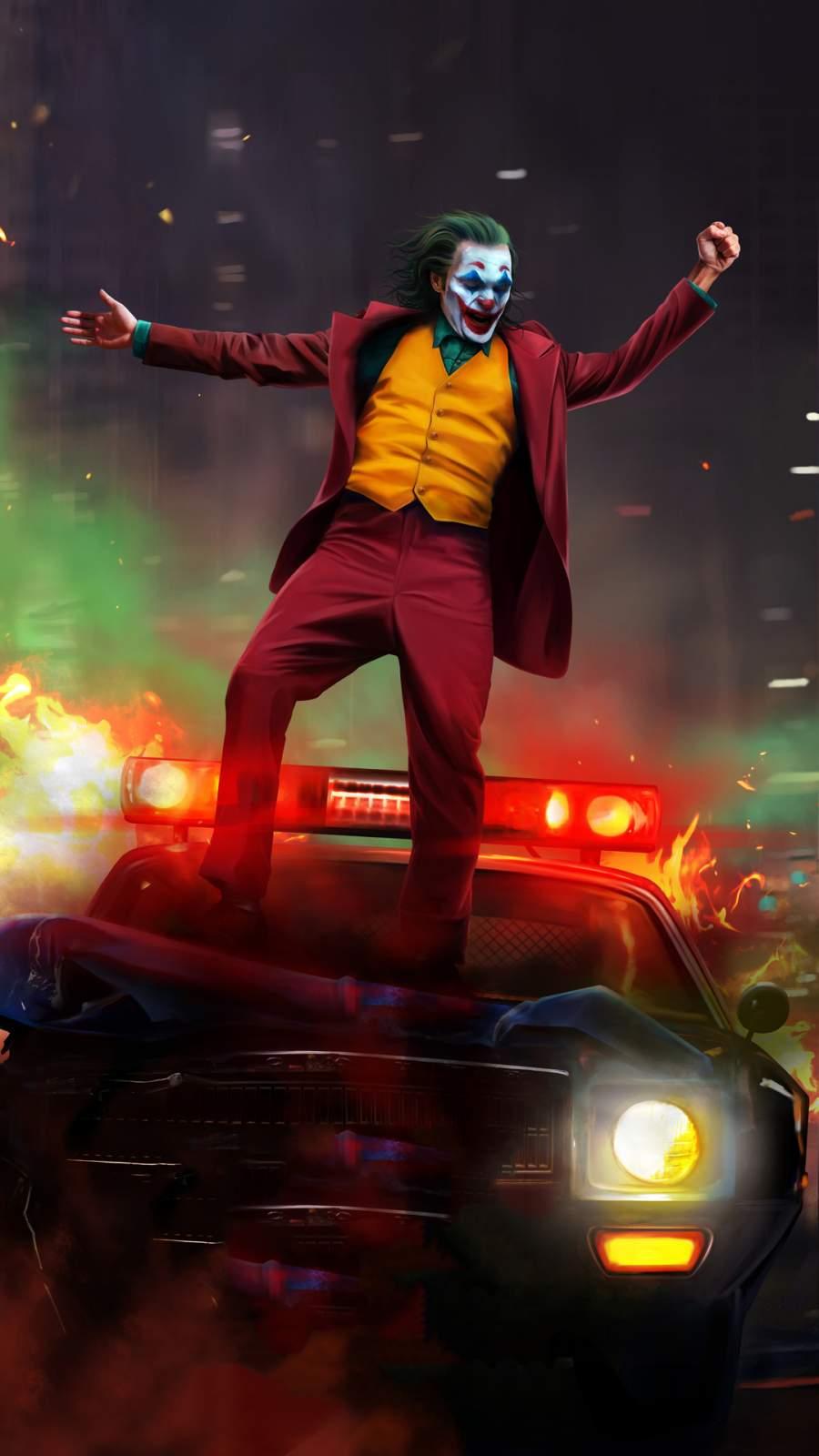Joker vs Police iPhone Wallpaper