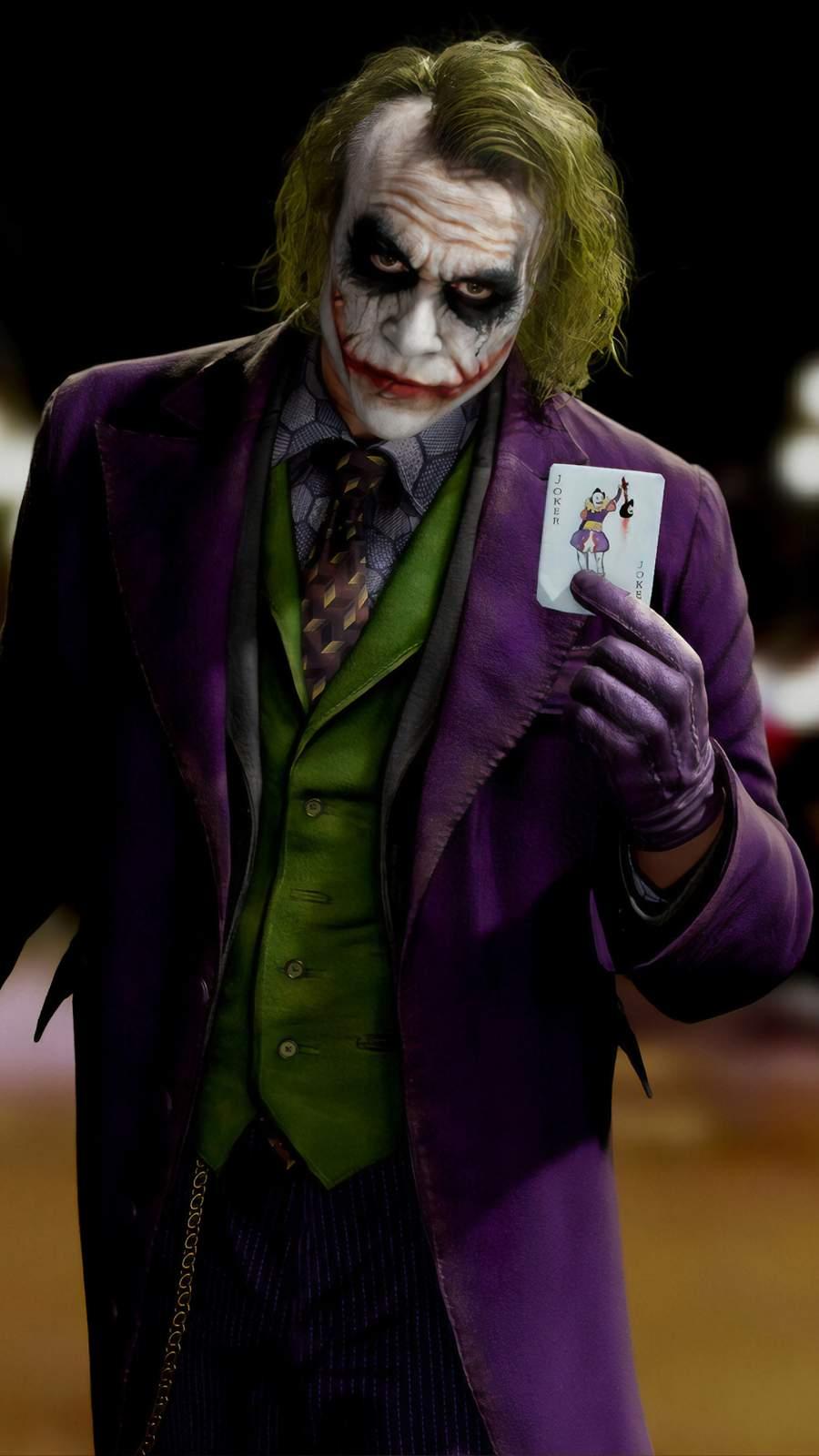 Joker with Card iPhone Wallpaper
