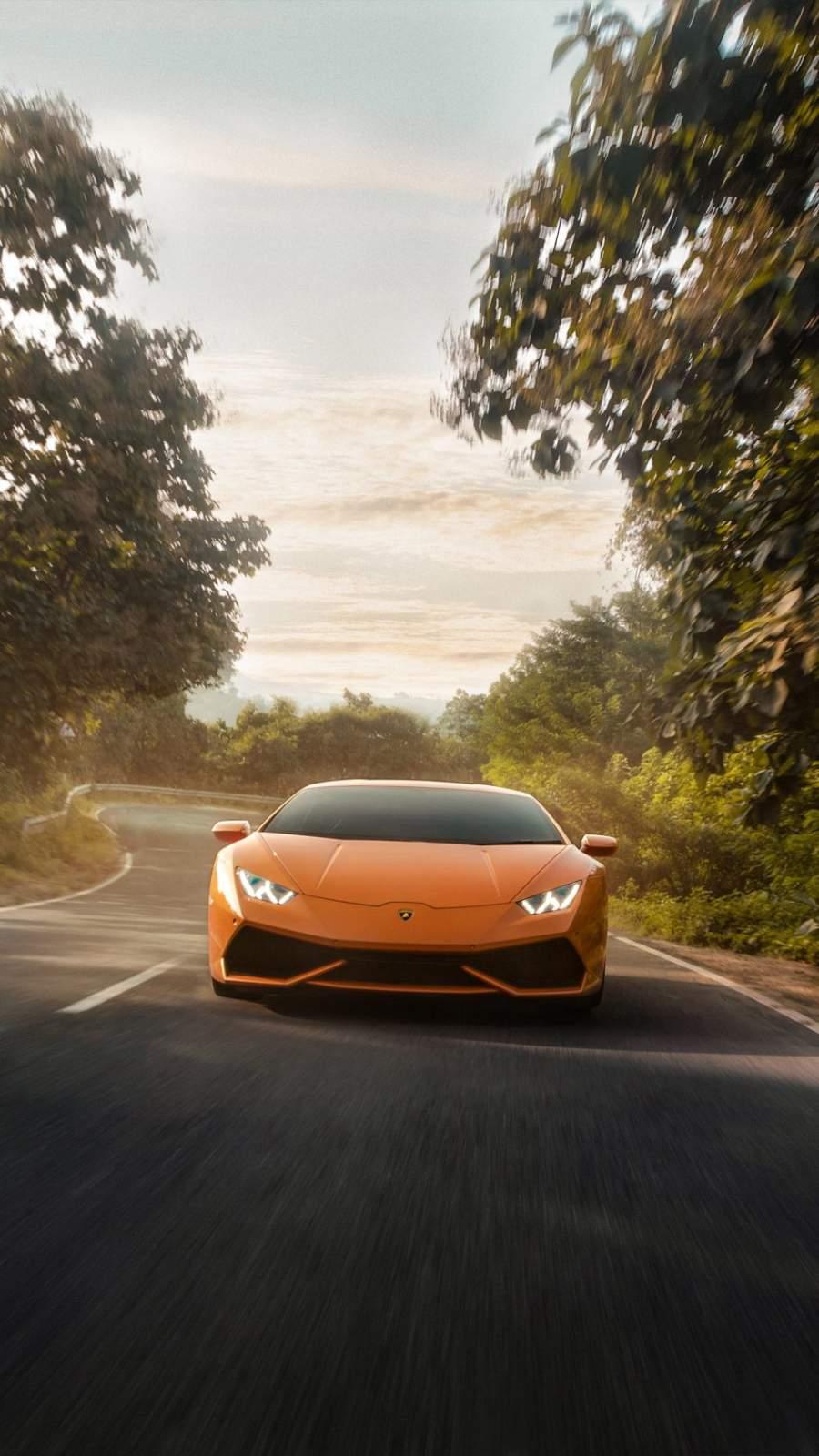 Lamborghini Huracan on Road 4K iPhone Wallpaper