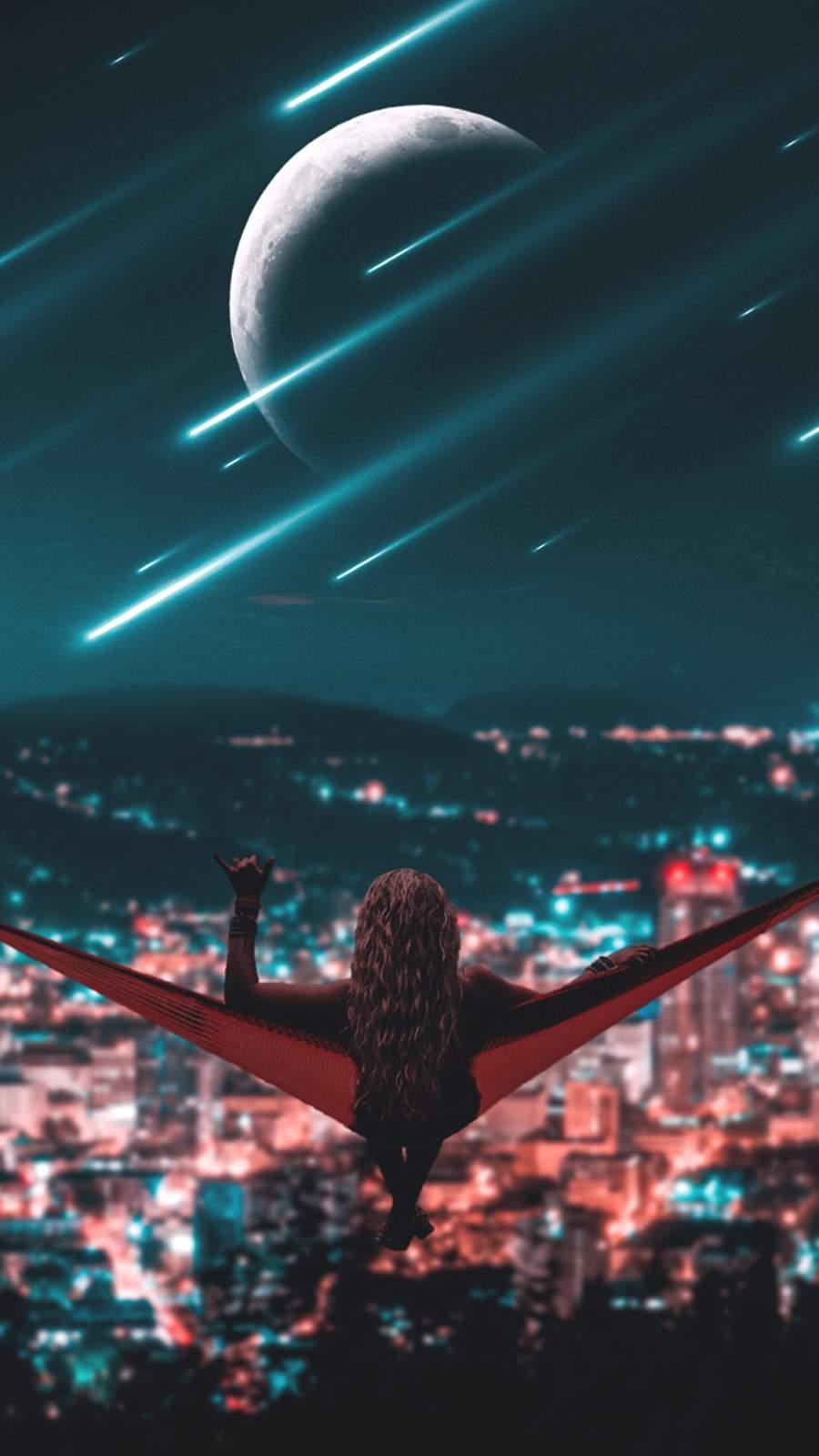 Meteors Over City iPhone Wallpaper