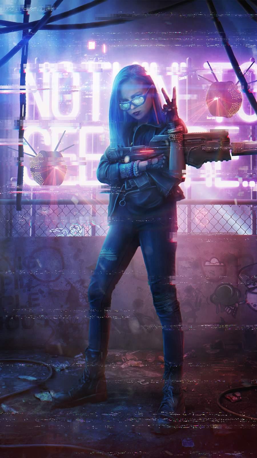 Neon Girl with Gun iPhone Wallpaper