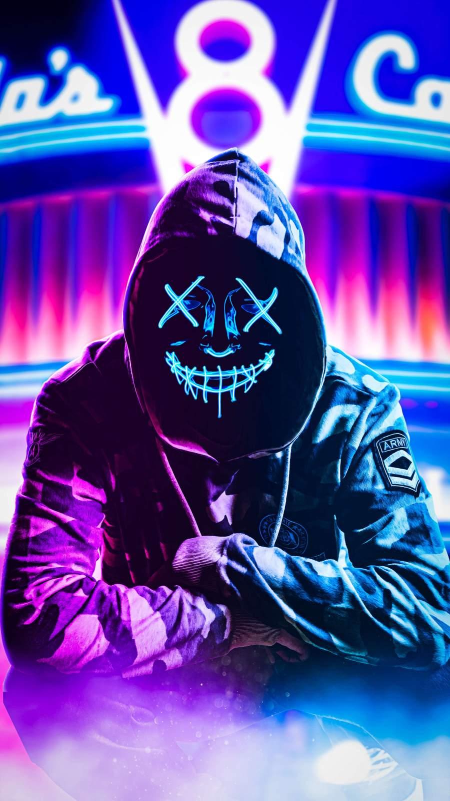 Neon Hoodie Mask iPhone Wallpaper