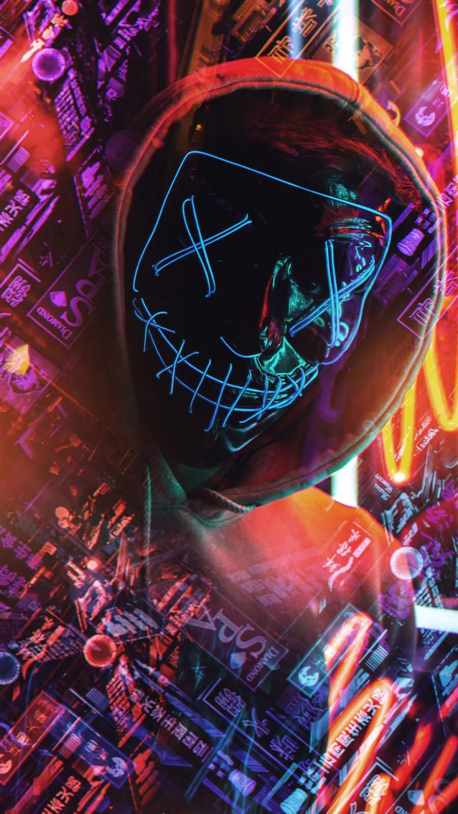 Neon Mask Closeup iPhone Wallpaper