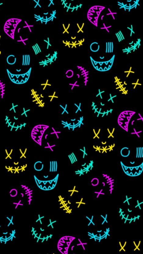Neon Masks iPhone Wallpaper