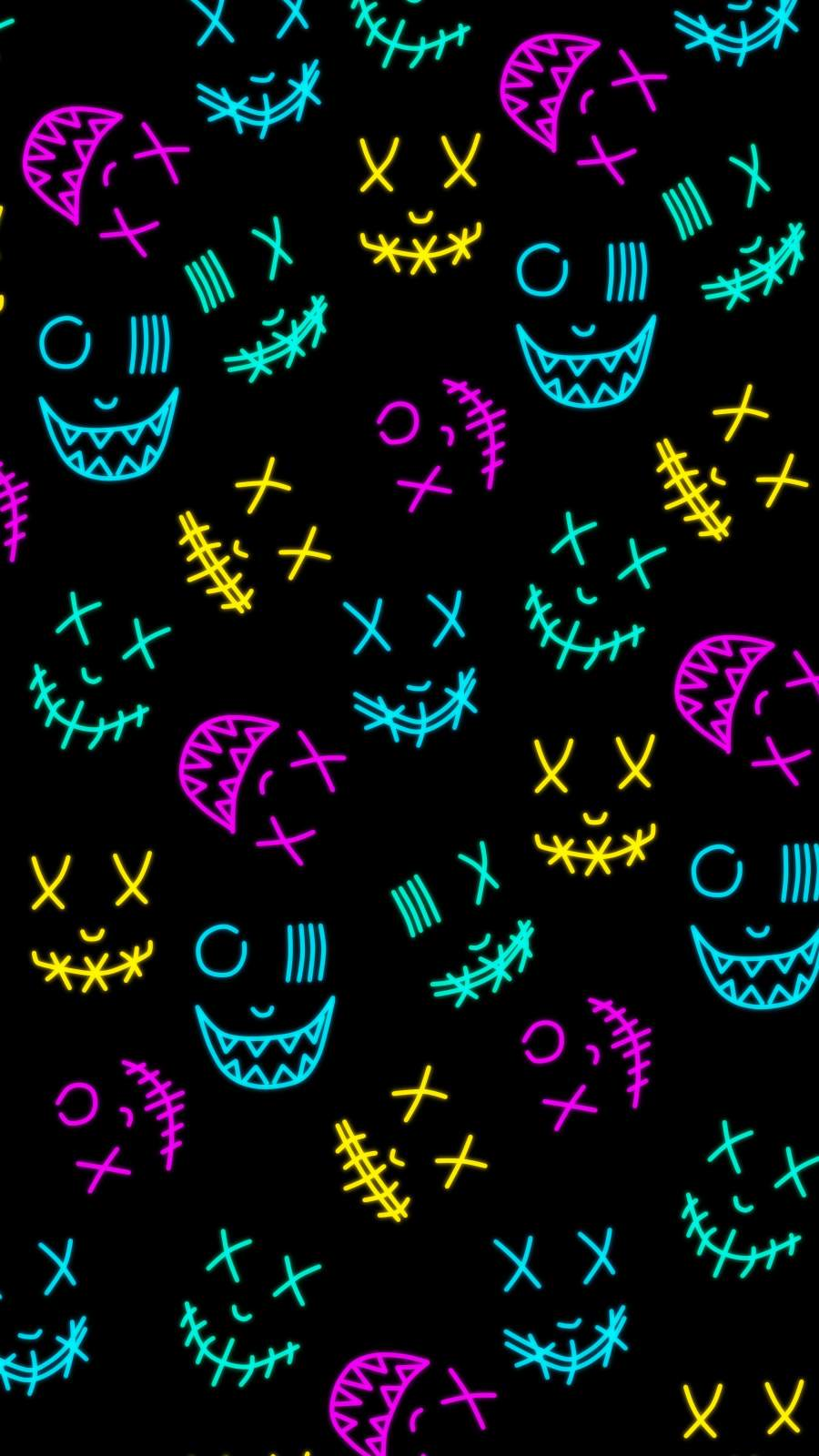 Neon Masks iPhone Wallpaper