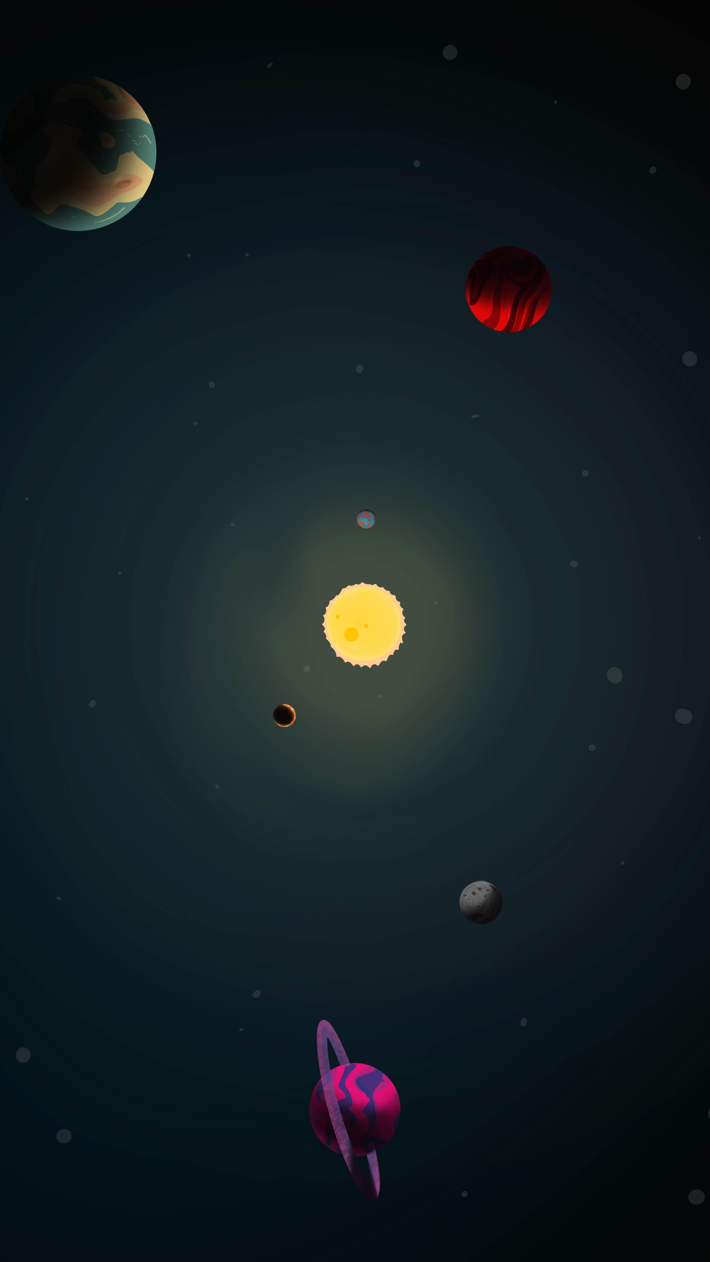 Solar System Art iPhone Wallpaper