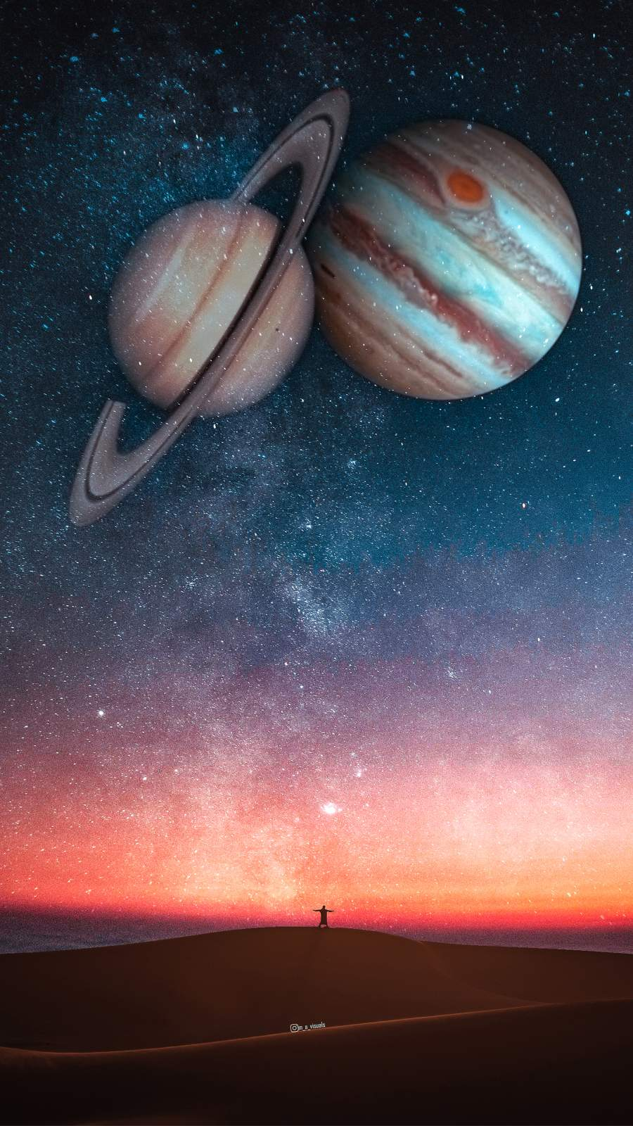 Space Saturn Jupiter iPhone Wallpaper