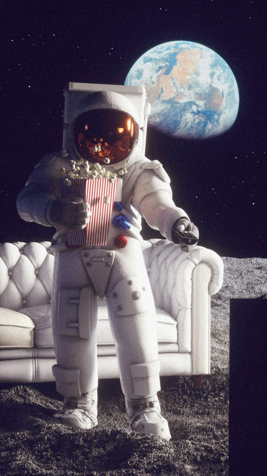 Spaceman Watching Movie iPhone Wallpaper