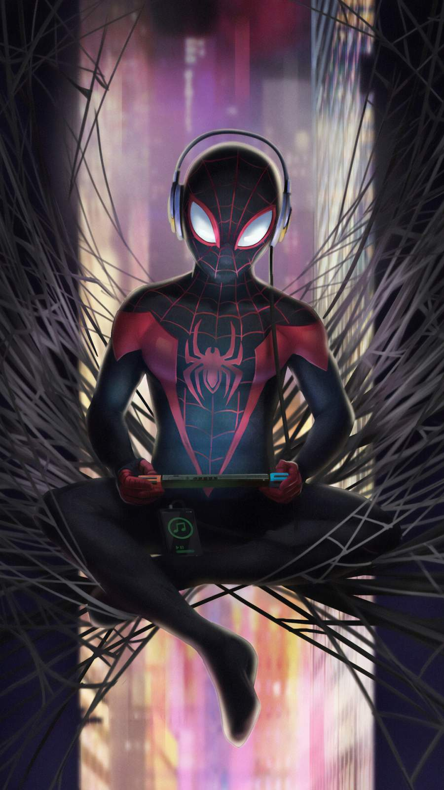 Spiderman Listening Music iPhone Wallpaper