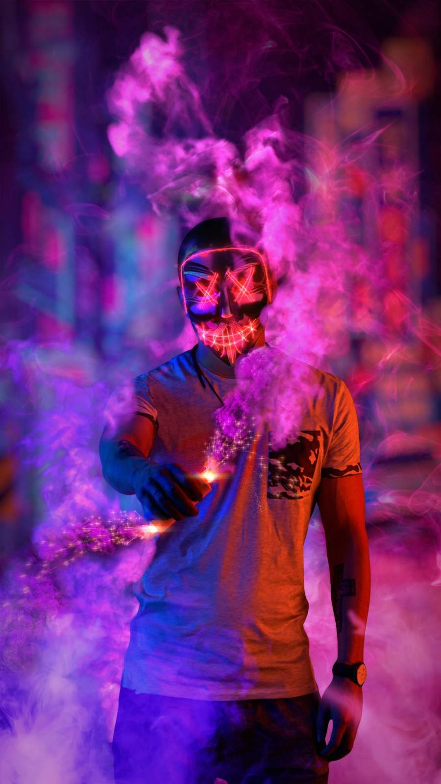 Anonymus Mask Smoke iPhone Wallpaper