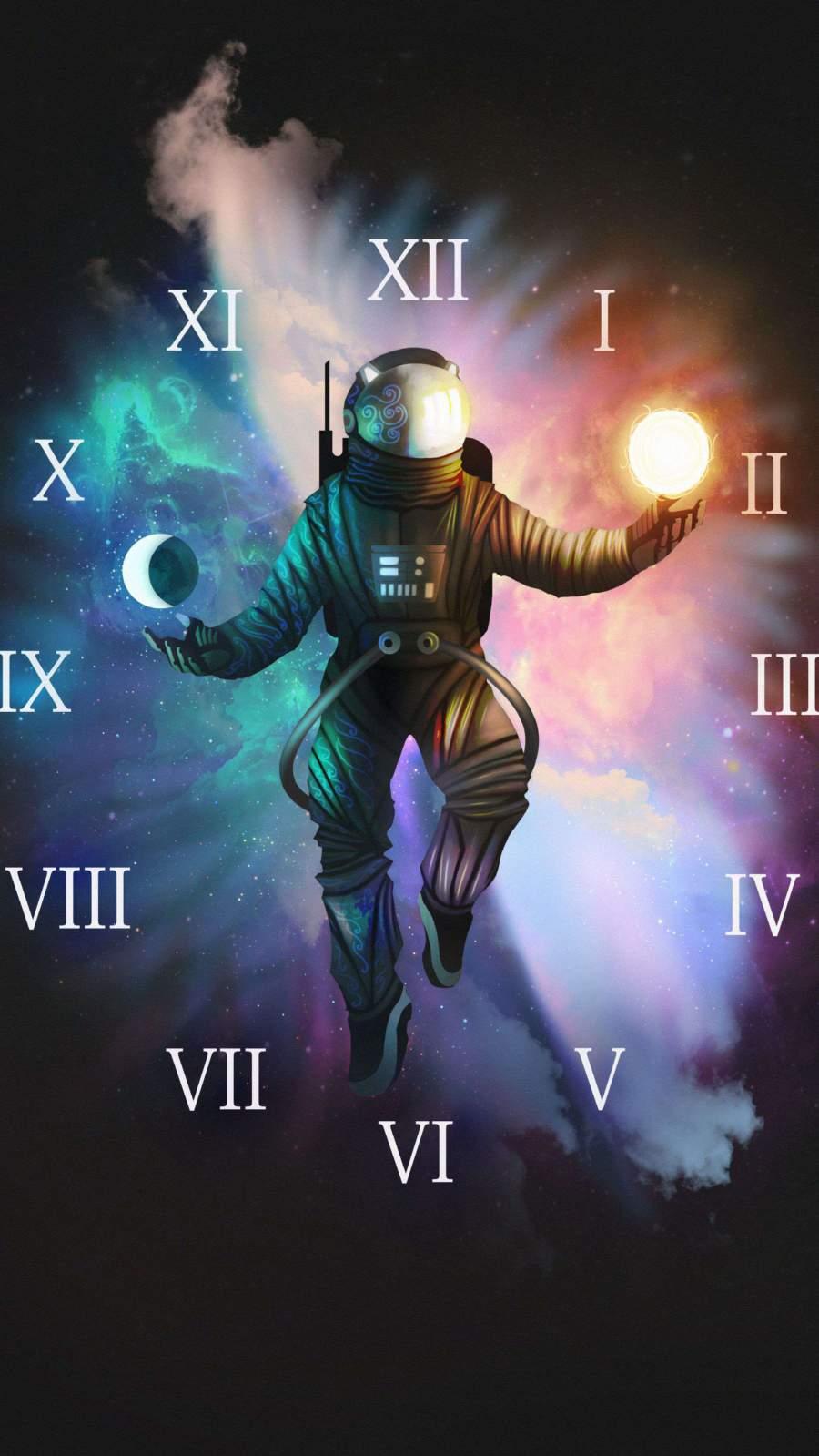 Astronaut Clock iPhone Wallpaper
