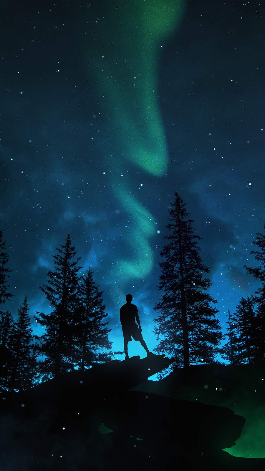 Aurora Lights Night iPhone Wallpaper