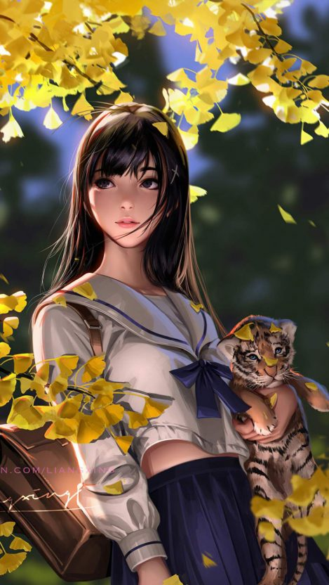 Autumn Girl with Cubs iPhone Wallpaper