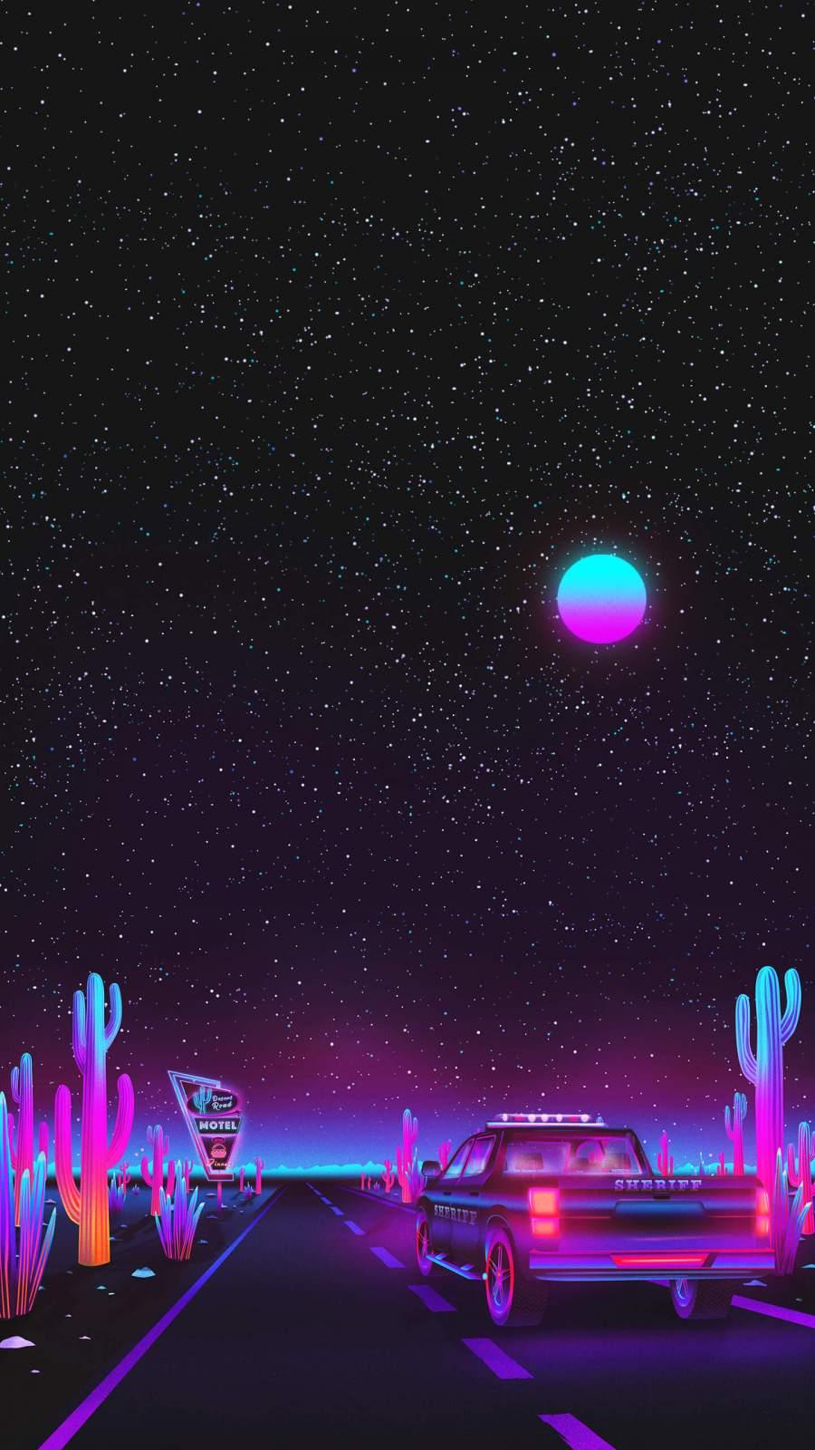 Cactus Desert Night iPhone Wallpaper