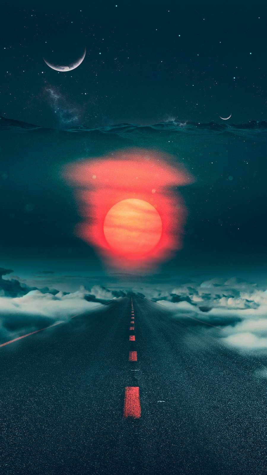 Cloudy Destination iPhone Wallpaper