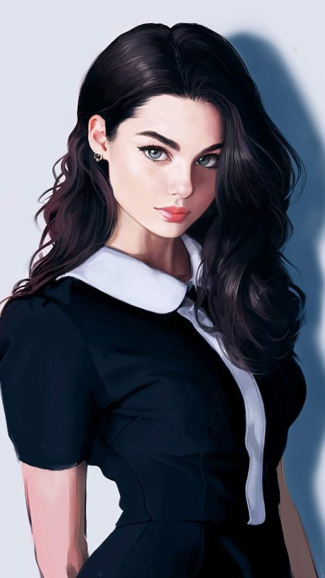 Dark Blacked Hair Girl iPhone Wallpaper