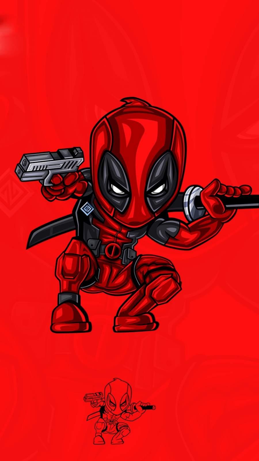 Deadpool Red Art iPhone Wallpaper