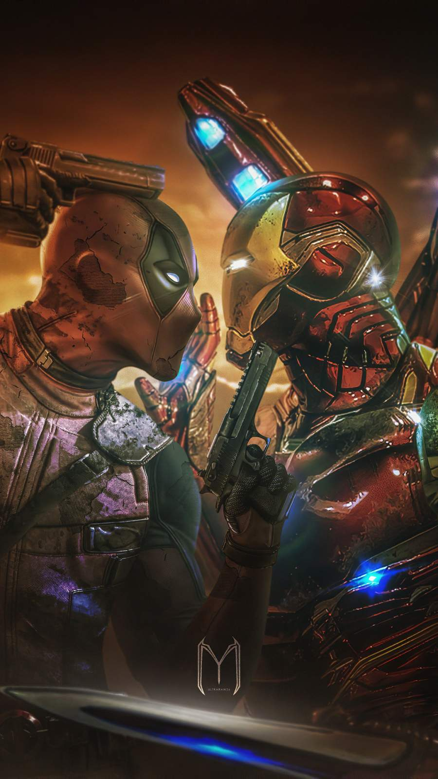 Deadpool vs Iron Man iPhone Wallpaper