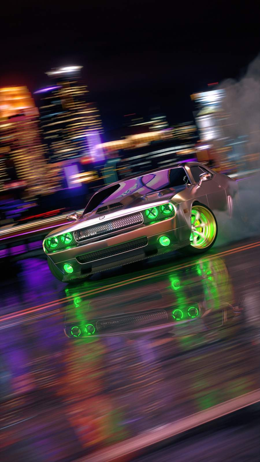 Dodge Challenger Neon iPhone Wallpaper