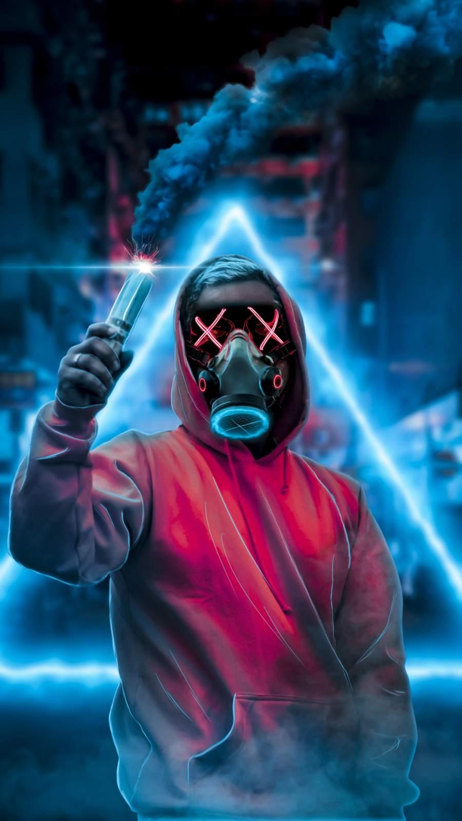 Face Mask Smoke Bomb iPhone Wallpaper