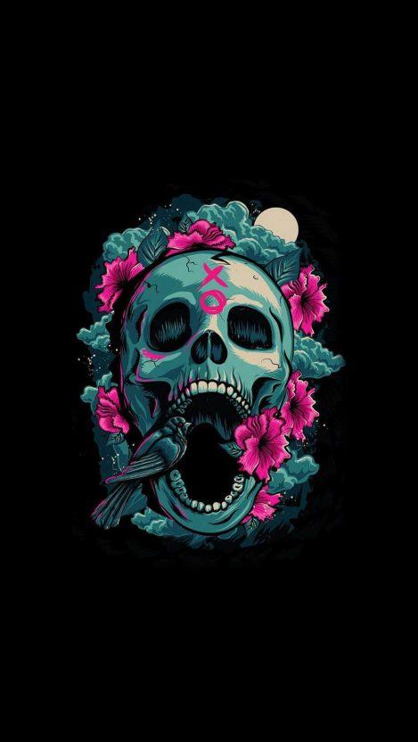 Floral Skull iPhone Wallpaper