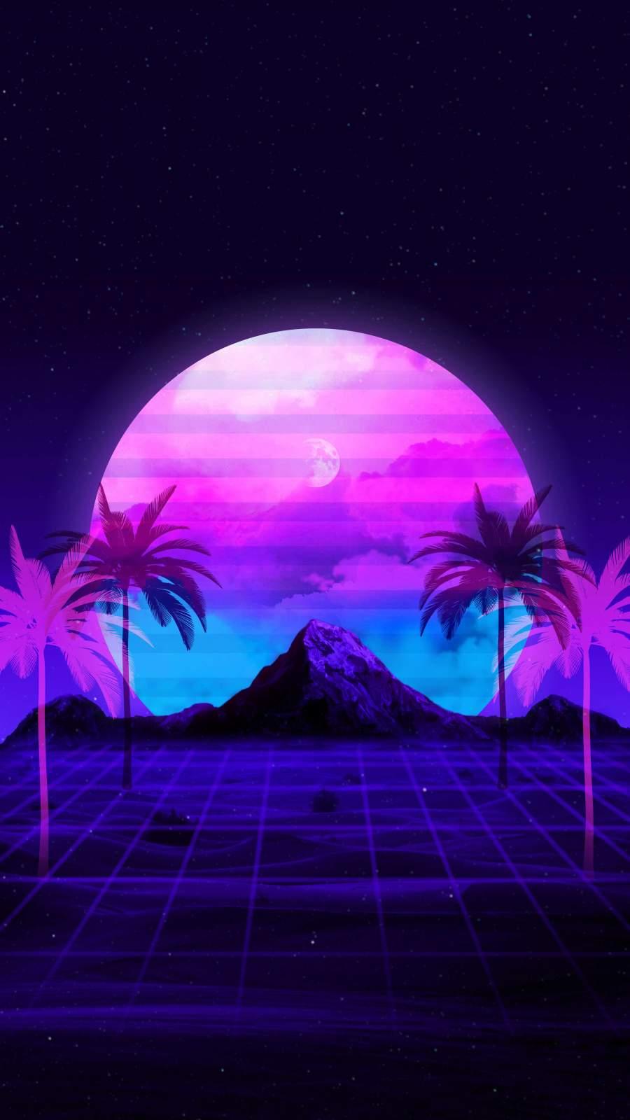 Glitch Moon iPhone Wallpaper