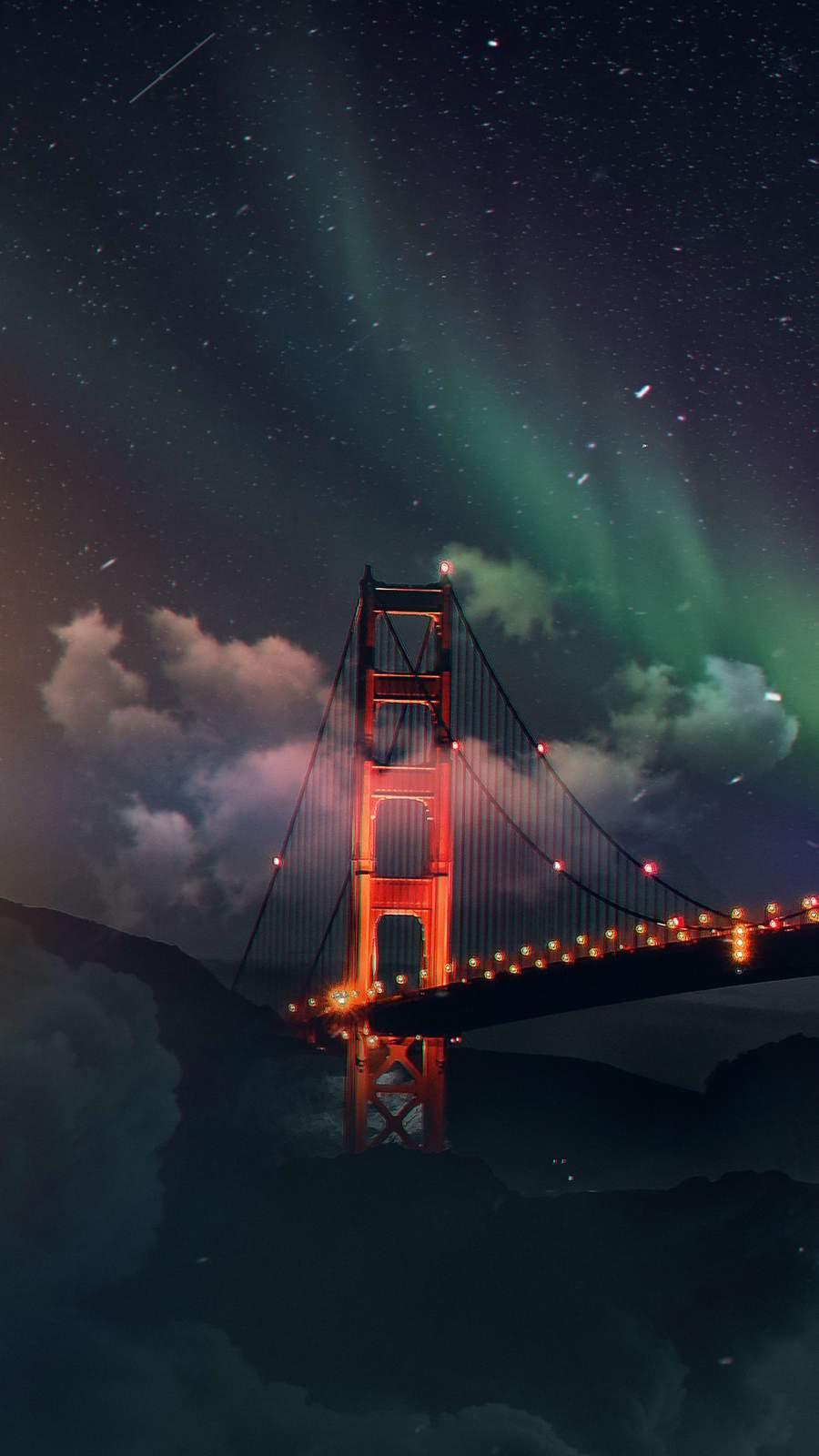 Golden Gate Bridge Northern Lights iPhone Wallpaper