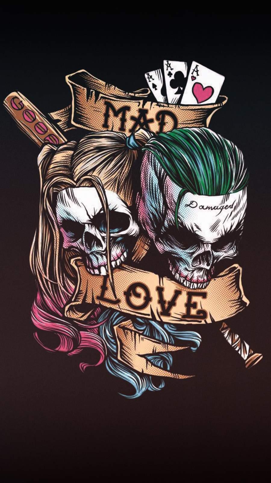 Harley Quinn and Joker Art iPhone Wallpaper
