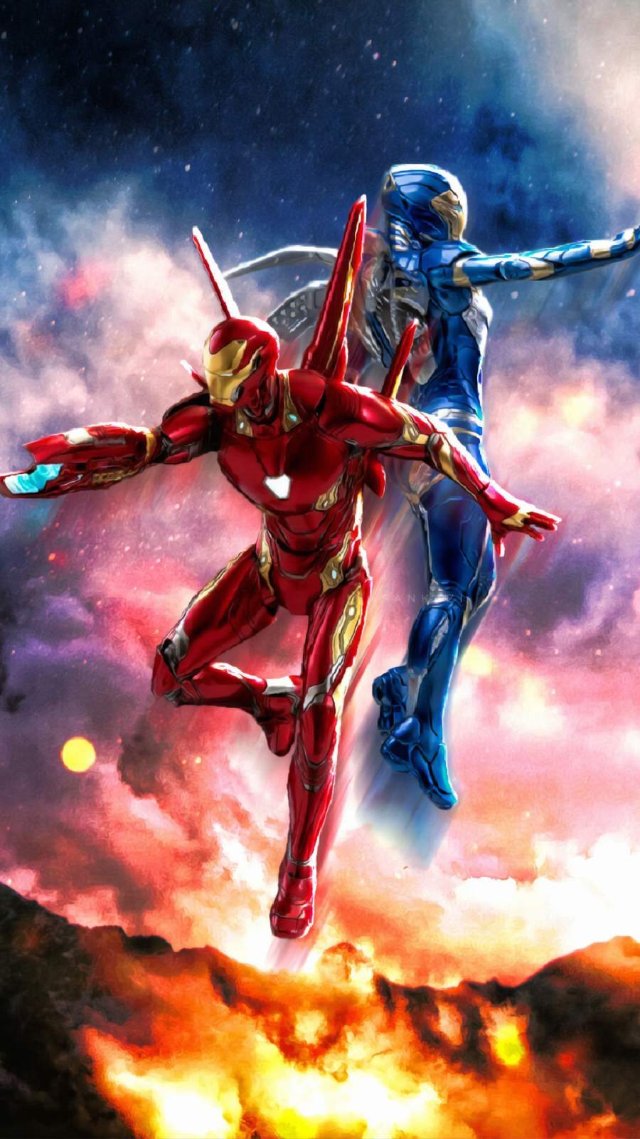 Iron Man and Pepper Potts Rescue Suit iPhone Wallpaper