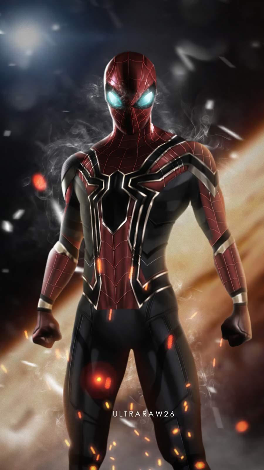 Iron Spiderman Smoking Eyes iPhone Wallpaper