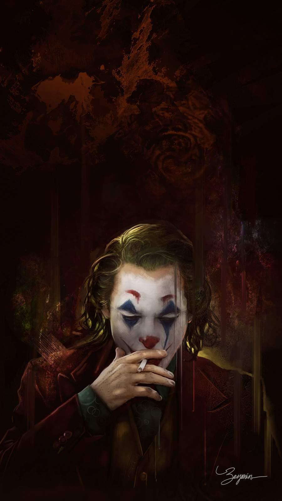 Joker Smoker iPhone Wallpaper