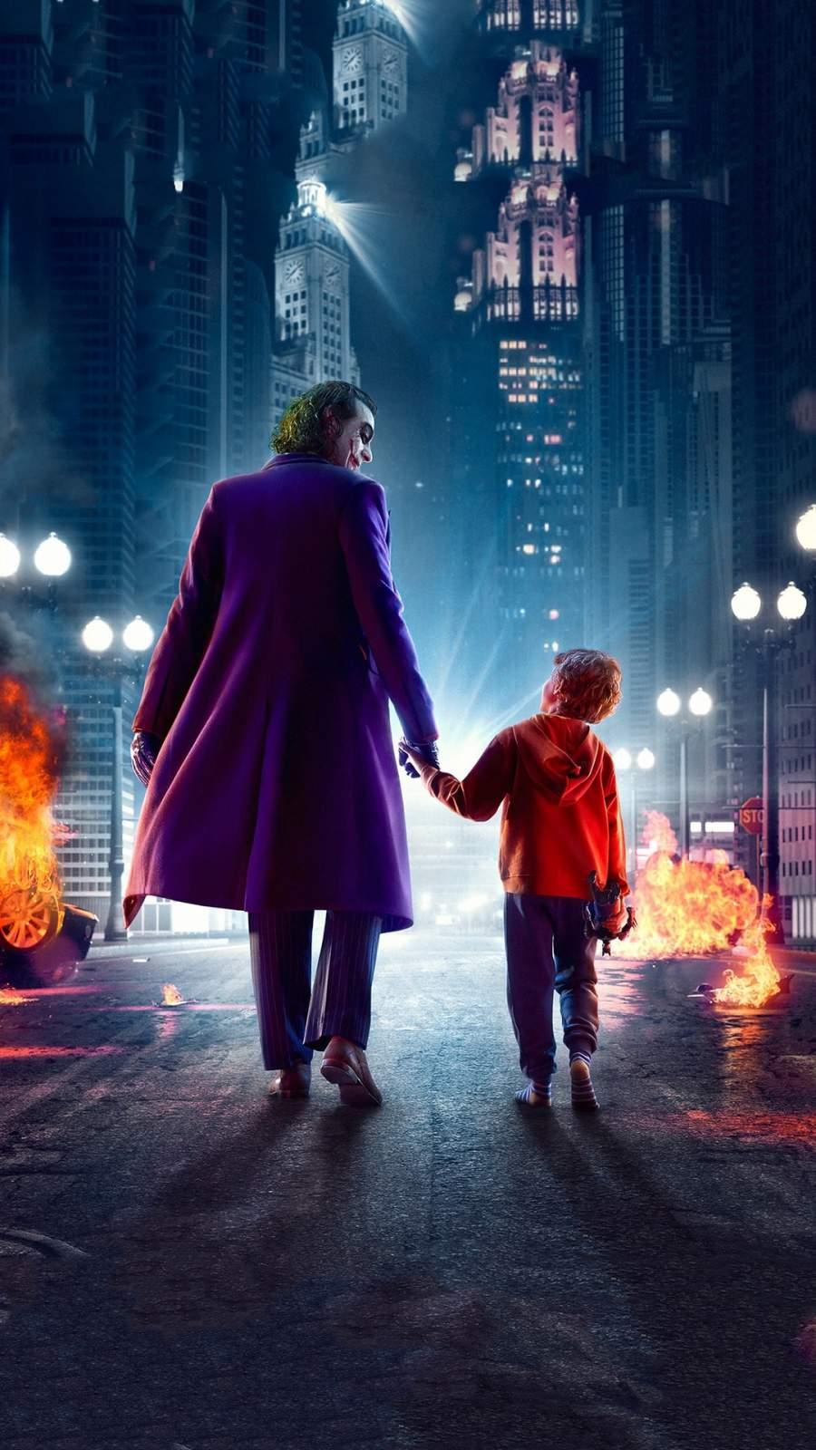 Joker Walking with Kid iPhone Wallpaper