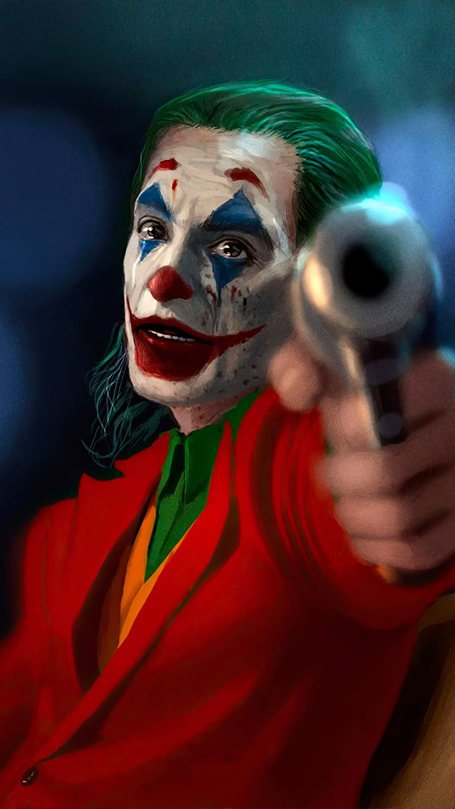 Joker with Gun iPhone Wallpaper