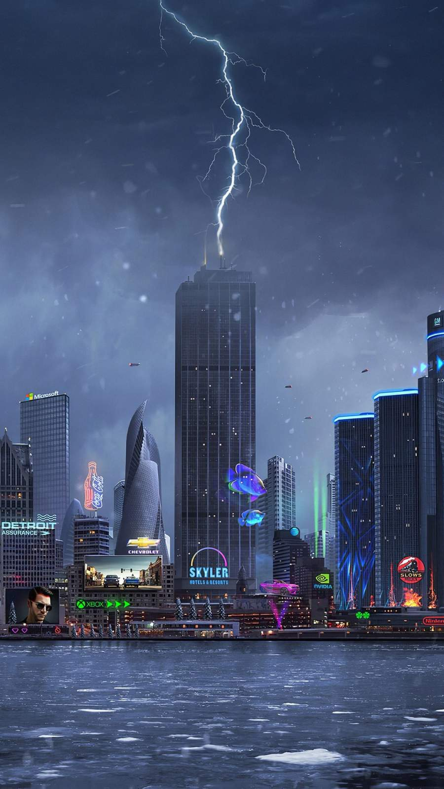 Lightning Striking on Building iPhone Wallpaper