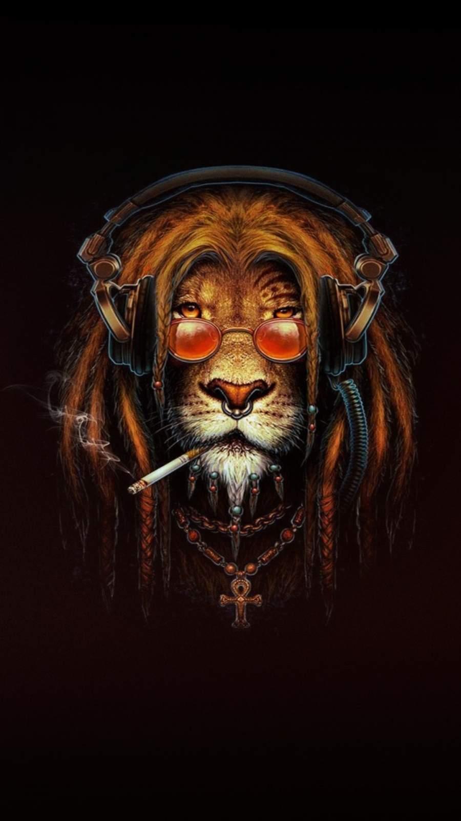 Lion Smoking Artwork iPhone Wallpaper