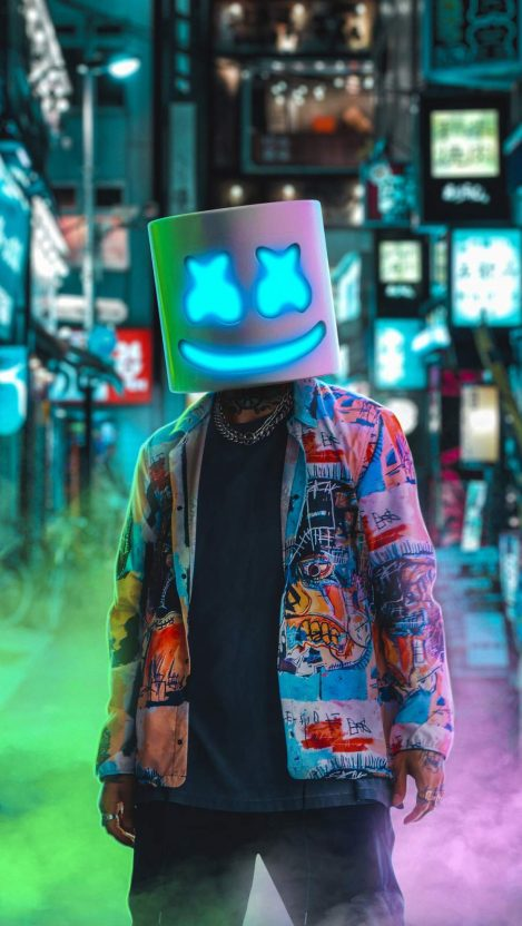 Marshmello Neon iPhone Wallpaper