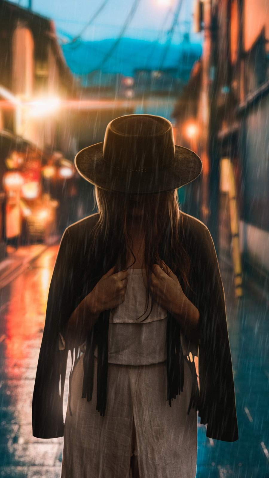 Mysterious Girl in the Rain iPhone Wallpaper