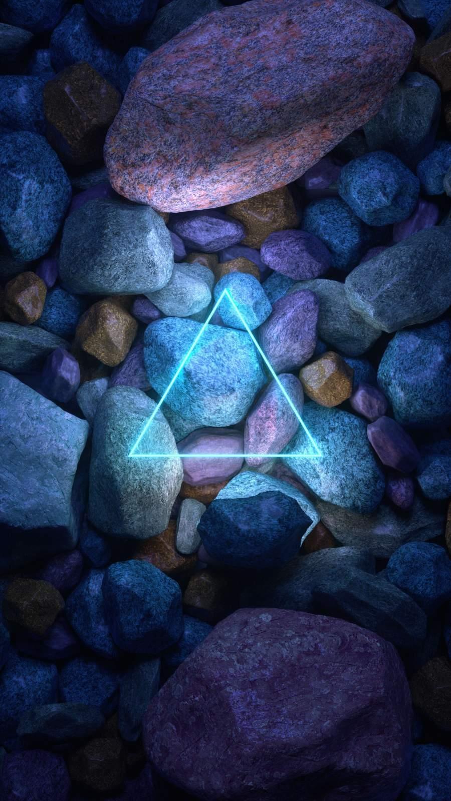 Neon Stone Triangle iPhone Wallpaper
