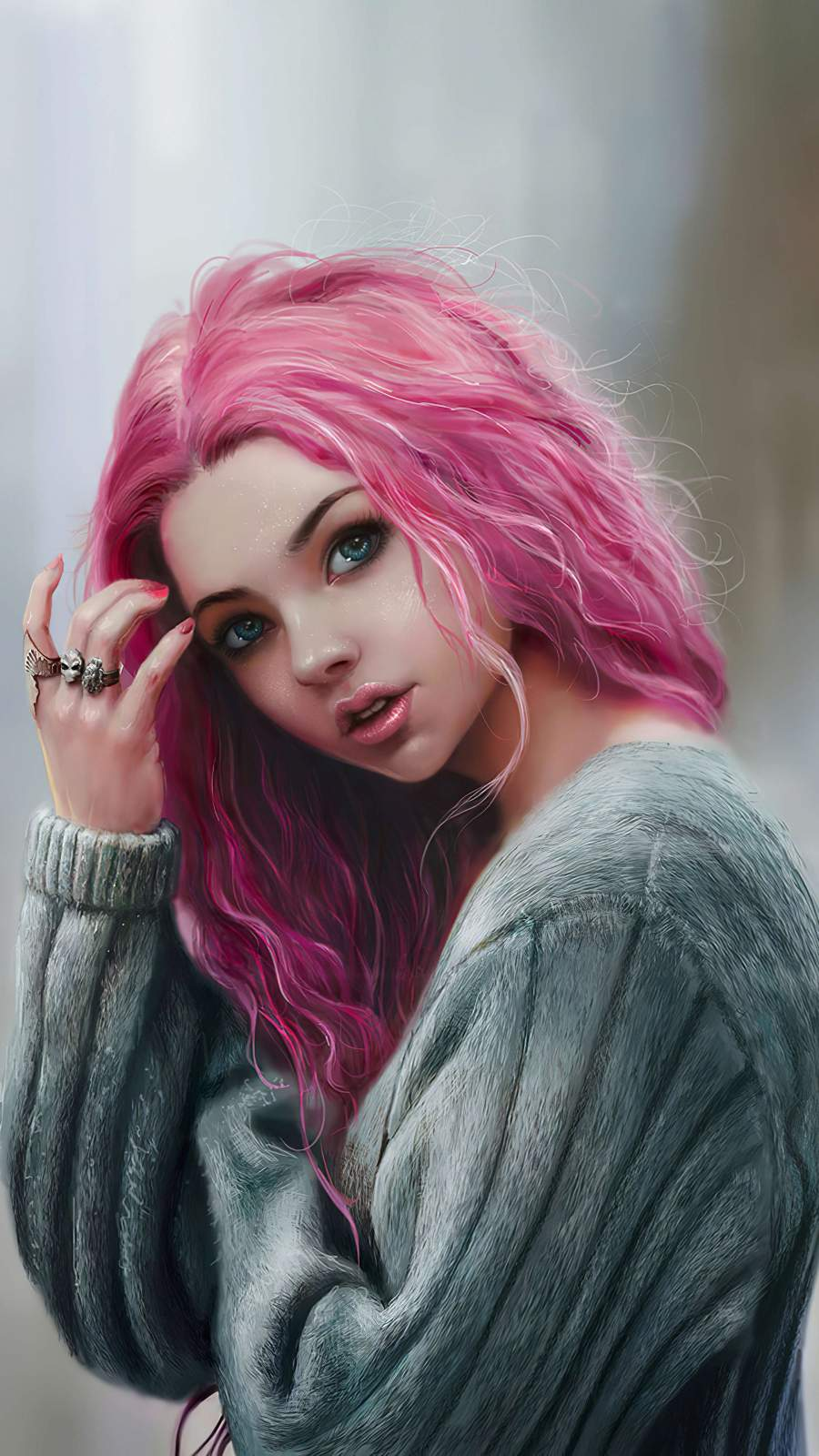 Pink Hair Girl iPhone Wallpaper