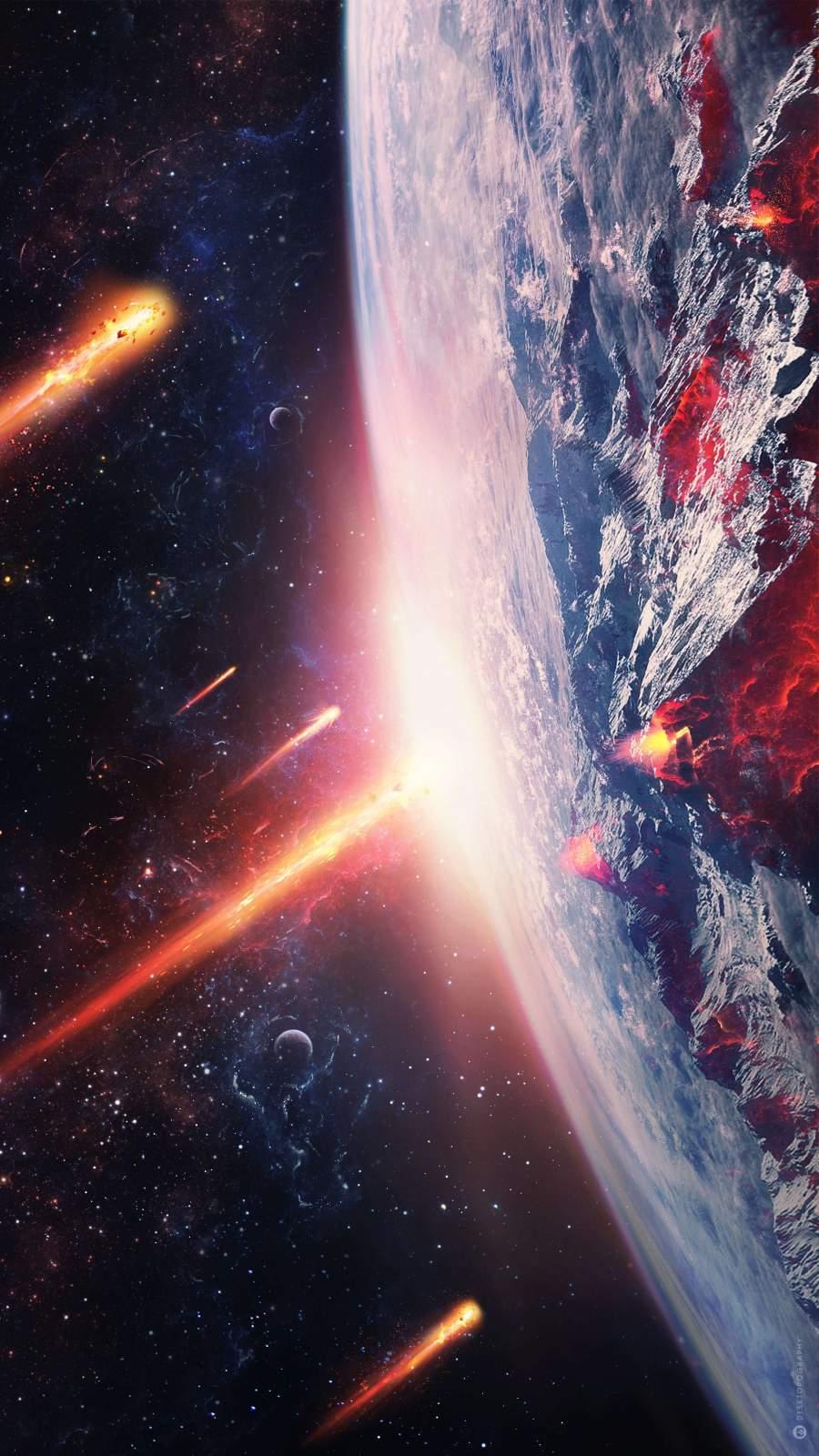 Planet vs Meteors iPhone Wallpaper
