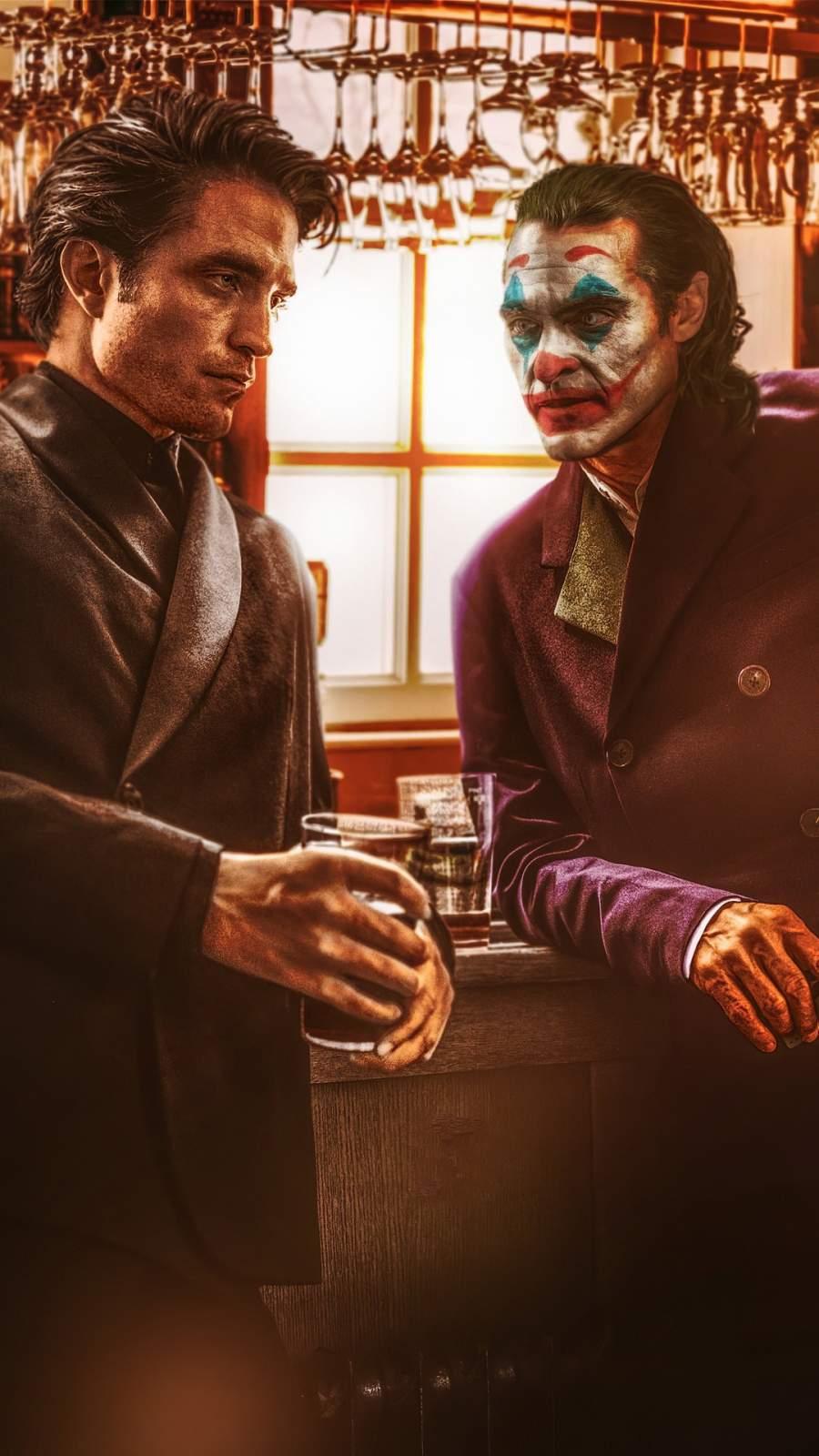 Robert Pattison and Joker Joaquin Phoenix iPhone Wallpaper