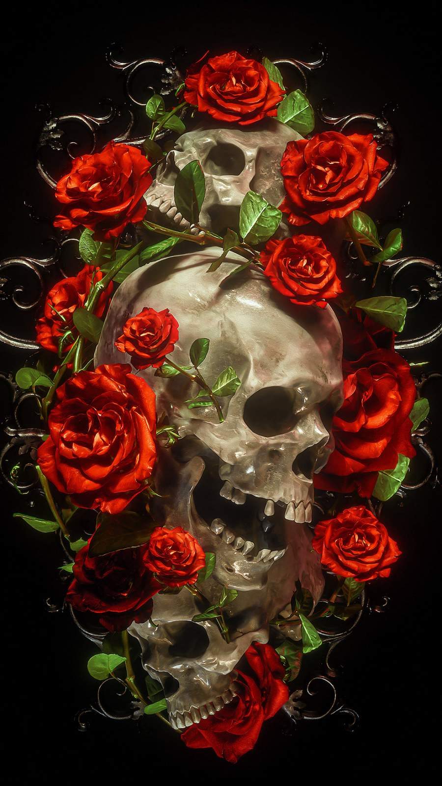 Rose Skull iPhone Wallpaper