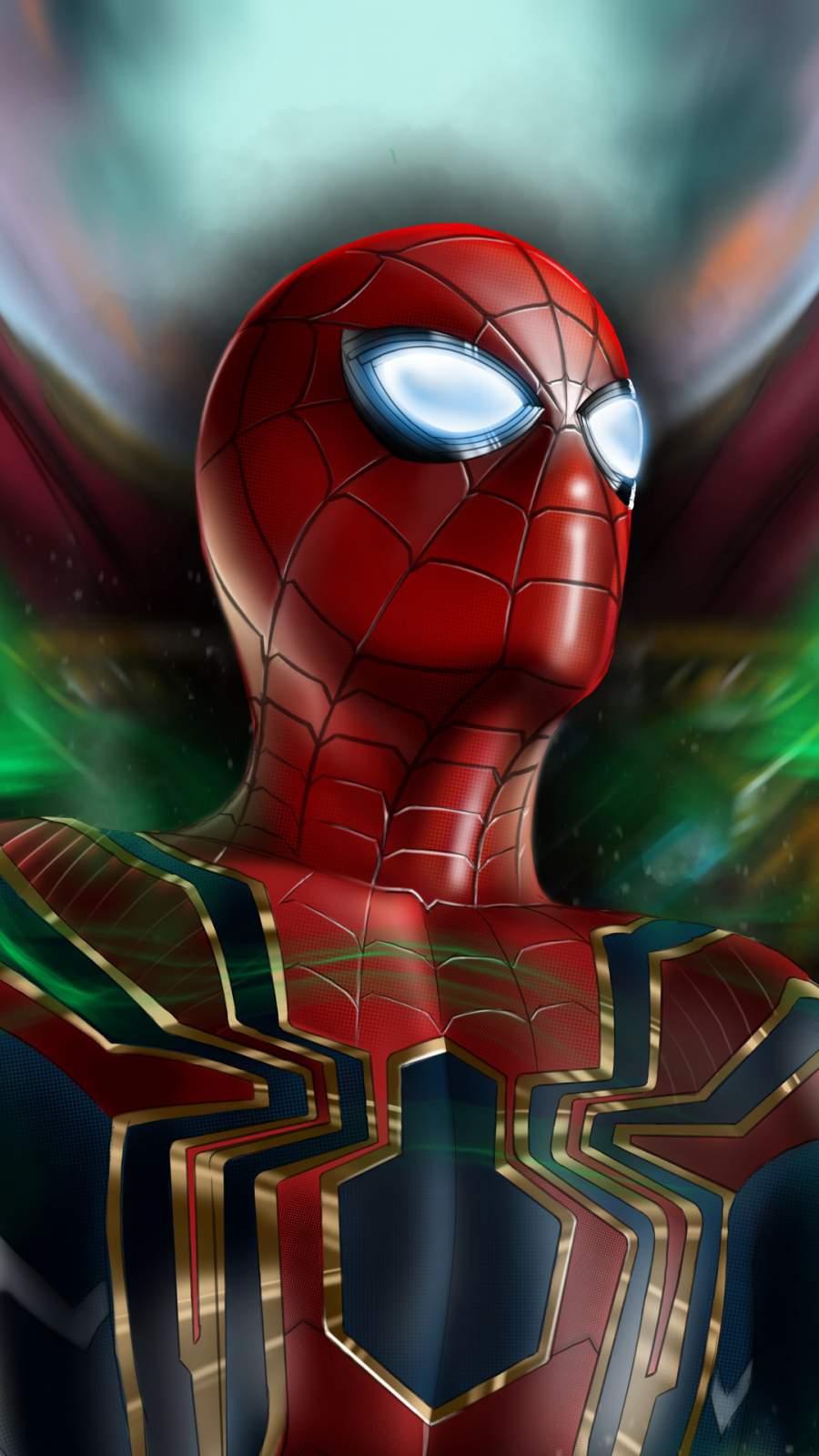 Spiderman Mask Eye Art iPhone Wallpaper