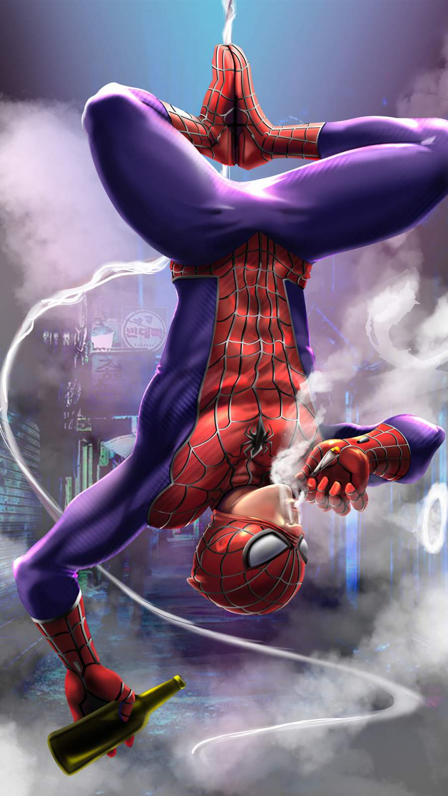 Spiderman Smoker iPhone Wallpaper